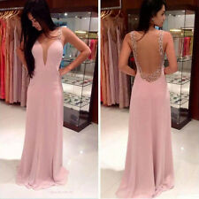 Women Sexy Sleeveless Backless Chiffon Evening Party Gown Cocktail Dress Hottest