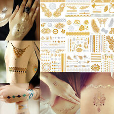 Metallic Tattoos Hands Fingers Nails Gold Silver Black Temporary Flash Tattoo