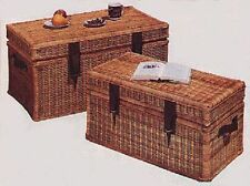 Steamer Trunk - Wicker with Leather Trim - Pecan or Natural Finish
