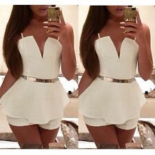 S M L Sexy Ladies V Neck Bodycon Jumpsuit Romper Trousers Clubwear Bandage Dress