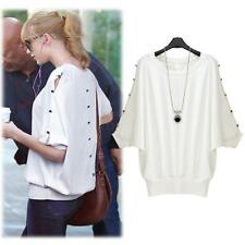Europe Women Blouse Batwing Sleeve Button T-Shirt Loose Casual Tops White