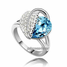 Blue Heart Ring use Swarovski Crystal SR196