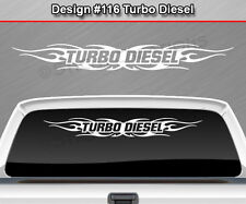 Design #116 TURBO DIESEL Windshield Decal Sticker Window Graphic Tribal Flame