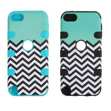 Hybrid Impact Stripe Pattern Rubber Case Cover For iPod Touch 5 5th Gen GFY