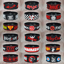 ROCK METAL BAND LOGO RUBBER BRACELET WRISTBAND CUFF THRASH HARD ROCK MUSIC