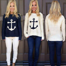 Women Knitted Sweater Long Sleeve Knitwear Anchor Crew Neck Pullover Coat Tops