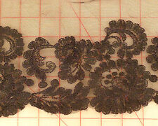 "Lovely black 14"" wide floral lace embroidered edge mesh fabric trim wholesale"