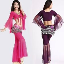 Womens Sexy Belly Dance Clothing Waist Chain Costume Coat/Waist Chain/Pants Suit