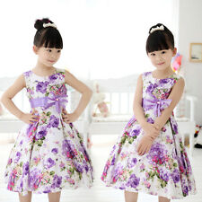 2015 Chic Girls Kids Princess Wedding Party Flower Bow Gown Fancy Dresses 2-11Y