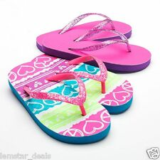 2 PAIRS Jumping Beans Girls Flip Flops Pink Glitter & Peace Signs and Hearts NEW