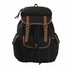 Vintage Canvas Hiking Rucksack Expandable Military Leather Mens Backpack Bags