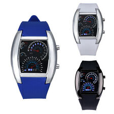 Fashion Aviation Turbo Dial Flash LED Watch Gift Mens Lady Sports Car Meter Gift