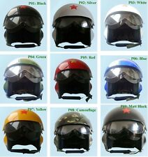 New dual Visor Jet Pilot/Flight Military Open Face Motorcycle Scooter Helmet