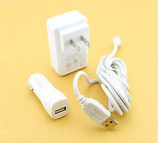 2100mA Home Wall Travel AC + Car Vehicle Charger + 6 Ft Micro Cable for TABLETS