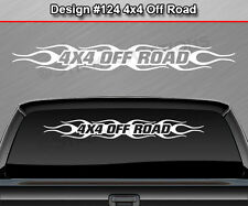 Design #124 4X4 OFF ROAD Windshield Decal Window Sticker Flame Flaming Banner