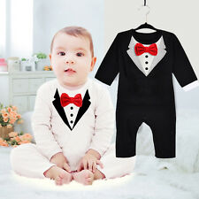 Cute Newborn Clothes Baby Kids Suit Boys Bowknot Gentleman Romper Cotton 0-36M