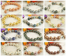 Genuine 12mm South Sea Shell Pearl Round Beaded Heart Clasp Bracelet-15 Color