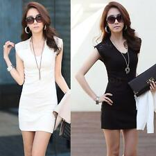 Women Lace Splice V Neck Sleeveless Stretch Bodycon Slim Clubwear Mini Dress