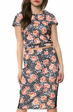 Karmaloop Romeo and Juliet The Floral Pencil Skirt Coral & White
