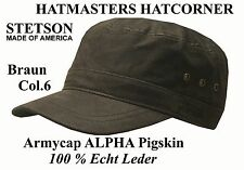 STETSON LEATHER ARMY BASEBALL CAP ALPHA BROWN 6 PIG SKIN NEW TREND