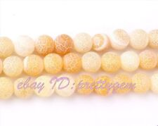 """WHOLESALE 8MM ROUND FROST CRACKED YELLOW AGATE SPACER GEMSTONE BEADS STRAND 15"""""""