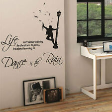 Dance in the Rain Music Art Wall Quote Stickers Wall Decals Words Lettering