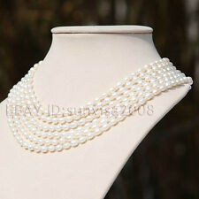 6 rows AA 5x6mm beautiful white oval cultured pearl necklace woman's gift s560