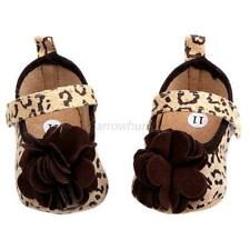 Leopard Baby Girls Flower Shoes Soft Crib Shoes Infants Prewalk Sneakers 0-12M