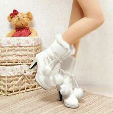 2015 Hot Womens warm furry lined mid-calf winter snow pom-pom boots shoes Size
