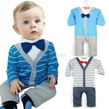 Boy Baby Kids Toddler Striped Gentleman Romper Jumpsuit Clothes Outfit Bow Tie