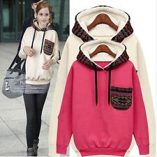 Fashion Women Ladies Sport Casual Hooded Hoodie Top Coat Jumper Sweater Pullover