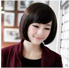 BOB Short Straight Bangs Wigs Women Fashion Cosplay Brown / Black Wig + FREE CAP