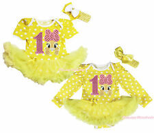 Easter 1ST Pink Bow Bunny Yellow White Dots Bodysuit Skirt Baby Dress NB-18Month