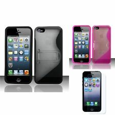 For iPhone 5 5G S Line Shape TPU Silicone Soft Case Cover w/stand+LCD Guard Film