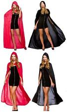"""Ladies Black Or Red Long Cape 52"""" Fancy Dress Costume Hooded Cloak One Size"""