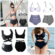 Vintage Retro Pin Up High Waisted Push Up Bikini Sets Swimsuit Swimwear S M L XL