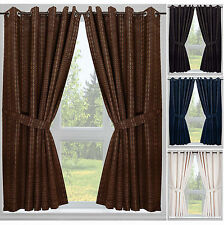 Malmo Check Jacquard Curtains with Tie Backs - Eyelet or Tape Top in 4 Colours