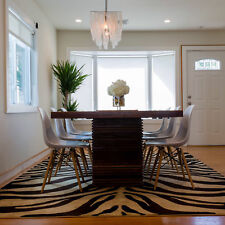 Modern Black Ivory Zebra Area Rug Animal Print Runner Contemporary Stripe Carpet