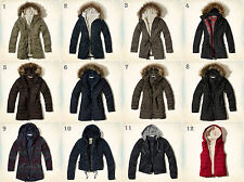 NWT Hollister - Abercrombie Womens Jacket Coat Parka Puffer Fur Navy Olive Black