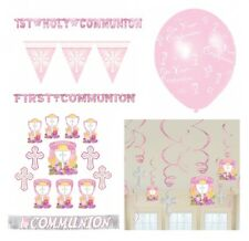 1st/FIRST COMMUNION Pink/Girl PARTY DECORATIONS {Amscan}(Banner, Balloon, Swirl)