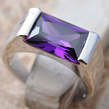 Classic Purple Amethyst Gemstone 925 Sterling Silver Ring Size 5 6 7 8 9 S0121