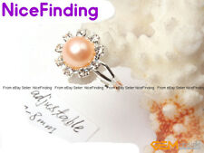 Crystal Gold Plated Enternal Natural Pearl Rings Fashion Jewelry For Women Gifts