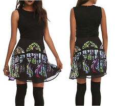 DISNEY SLEEPING BEAUTY MALEFICENT STAINED GLASS FIT & FLARE MINI DRESS (S - 3XL)