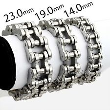 14/19/23MM Men Chain Silver 316L Stainless Steel Biker Motorcycle Bracelet 7-11""