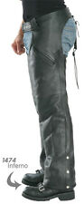 NEW PREMIUM COWHIDE NAKED LEATHER MOTORCYCLE Biker CHAPS EZ OUT INSULATED LINER