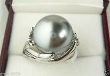 Genuine Natural 14mm Gray South Sea Shell Pearl Wedding Jewelry Ring Size 7/8/9