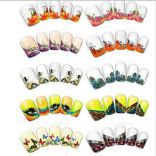 Nail Art Decals Half Wraps French Manicure Water Transfer Stickers