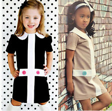 Kids Girls Doll Collar Toddler Baby Princess Short Sleeve Fancy Party Dress 1-6Y