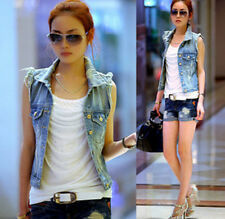 Womens Lady Vintage Frayed Cardigan Denim Vests Jean Waistcoat Jacket Outerwears