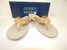 New Sperry Top-Sider Seafish Gold With Cork Cute  And Comfortable Thong Sandals